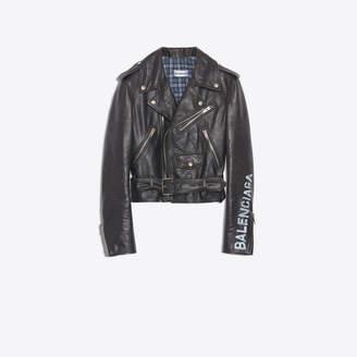 Balenciaga Statement message printed calfskin biker jacket