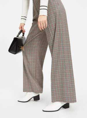 Miss Selfridge Brown Check Belted Wide Leg Trousers