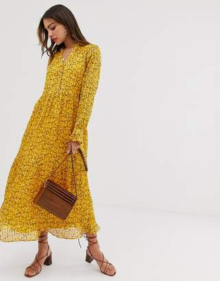Y.A.S floral midi dress with jacquard stripe