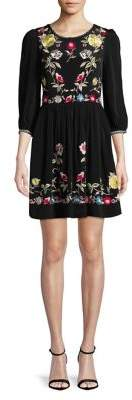 French Connection Saya Floral Crepe Fit-&-Flare Dress