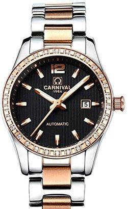 Carnival カーニバルWomens自動マシンローズゴールドステンレススチールサファイア防水女性用ブラック腕時計