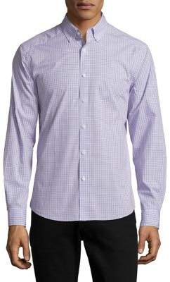 Black & Brown Black Brown Slim-Fit Small Check Button-Down Shirt
