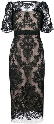 No.21 lace overlay open back dress