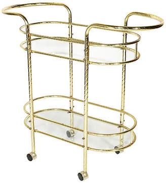 One Kings Lane Vintage 1960s Gilt Metal & Glass Bar Cart