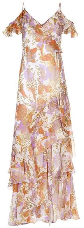 Geo Floral Print Silk Dress