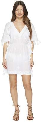 Letarte Short Sleeve Embroidered Voile Cover-Up Women's Swimwear