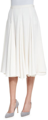 Co Layered Flared Crepe Midi Skirt, Ivory $895 thestylecure.com