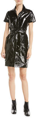 J Brand Lucille Belted Leather Shirtdress