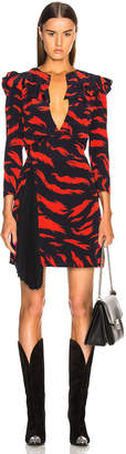 Givenchy Printed Ruffle Trim Mini Dress