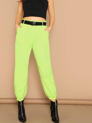 8190030ef5 Shein Neon Lime Elastic Hem Pants With Push Buckle Belt