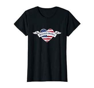 Womens Blessed Mama USA Flag Soaring Heart T-shirt