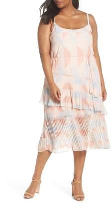 Cooper St Goldie Tassel Pleated Chiffon Midi Dress (Plus Size)