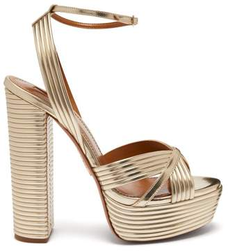 Aquazzura Sundance 130 Leather Platform Sandals - Womens - Light Gold