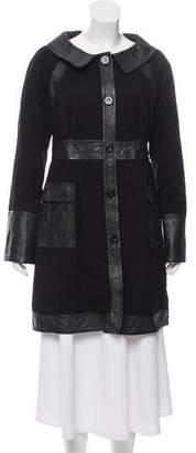 Diane von Furstenberg Leather-Trimmed Luccio Coat w/ Tags