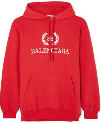Balenciaga Printed Cotton-blend Jersey Hoodie - Red