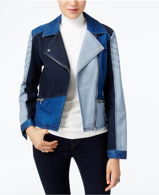 INC International Concepts Patchwork Denim Moto Jacket, Only at Macy's $119.50 thestylecure.com