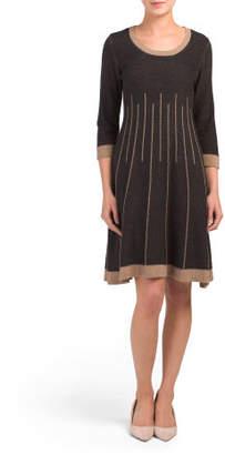 Three-quarter Sleeve Jacquard Dress