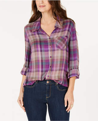 Style&Co. Style & Co Plaid Roll-Tab Shirt, Created for Macy's