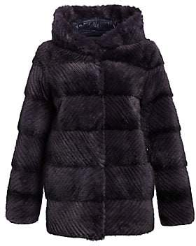 The Fur Salon Women's Norman Ambrose For The Fur Salon Reversible Mink Fur Hooded Puffer Jacket