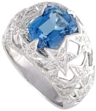 18K White Gold Diamond and Topaz Bombe Ring Size 8.75