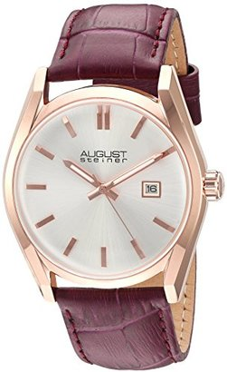 August Steiner Women 's rose-tone Case With White Dial and Alligatorエンボス本革パープルストラップウォッチas8221pu