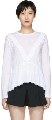 RED Valentino White Long Sleeve V-Peplum T-Shirt