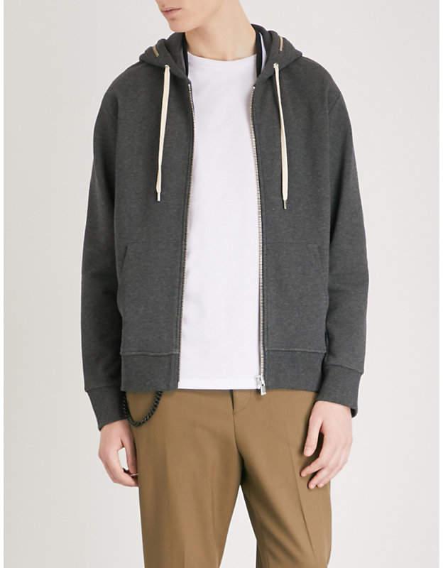 Zip-detail cotton-jersey hoody