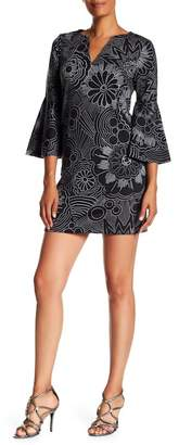 Trina Turk Pali Bell Sleeve Split Neck Dress