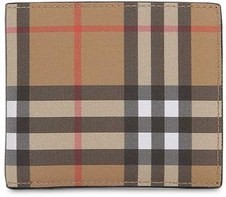 Burberry Check Cotton & Leather Classic Wallet