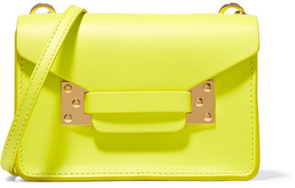 Sophie Hulme - Milner Nano Neon Leather Shoulder Bag - Bright yellow $350 thestylecure.com
