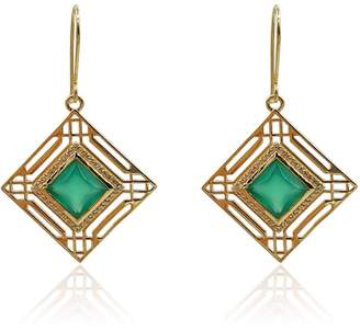 Eliza J Bautista Marlene Art Deco Earrings With Green Onyx & Diamonds In 18K Gold Vermeil