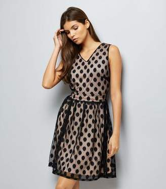 Yumi Black Spot Mesh Overlay Dress