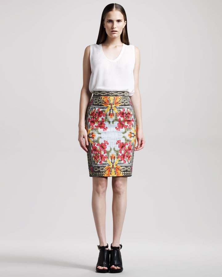 Givenchy Iris-Print Pencil Skirt