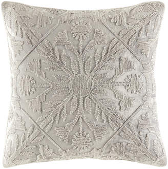Kas Silver Tile Pattern Margo Velvet Cushion
