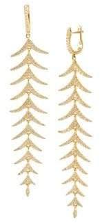 22K Gold Vermeil & Crystal Long Fern Dangle Earrings