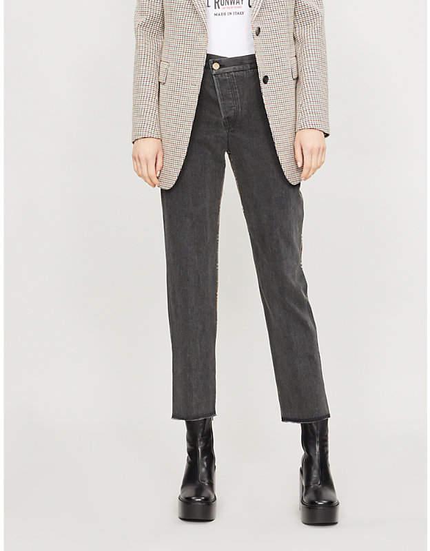 Half-checked high-rise straight denim jeans