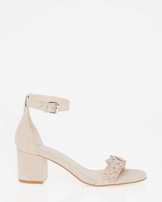 Le Château Floral Suede-Like Ankle Strap Sandal