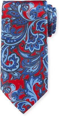 Ermenegildo Zegna Large Paisley Silk Tie, Red/Blue