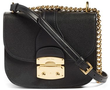 Miu MiuMiu Miu Madras Leather Crossbody Bag - Ivory