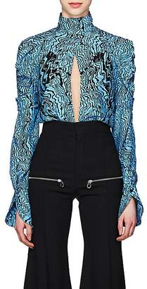 Chloé Women's Wave-Print Silk Cutout-Front Blouse - Blue