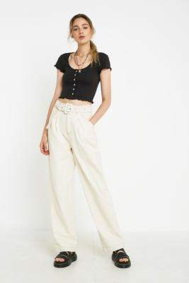 BDG Ecru Belted Puddle Jeans - beige 28W 34L at Urban Outfitters