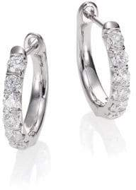 Jude Frances Jude Diamond& 18K White Gold Huggie Hoop Earrings/0.5""