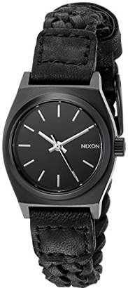 Nixon Women's A5092053 Small Time Teller Leather Black Watch