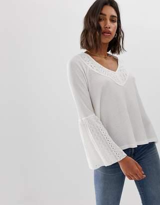 Free People Parisian Nights flared sleeve blouse