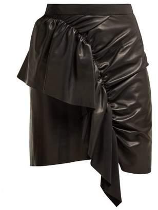 Isabel Marant Nela Ruffled Leather Mini Skirt - Womens - Black