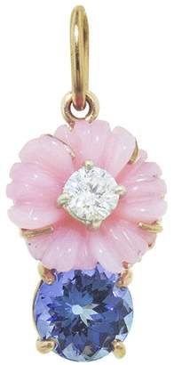 Irene Neuwirth One-Of-A-Kind Carved Pink Opal Flower Tanzanite Charm