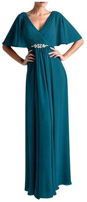 VaniaDress Women V Neck Half Sleeveles Long Evening Dress Formal Gowns V265LF US