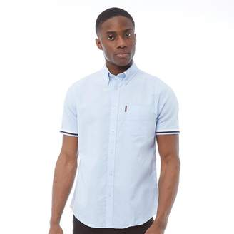 Short Sleeve Oxford Shirt With Tipped Rib Cuff Sky