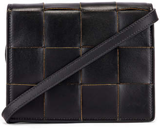 Bottega Veneta Woven Leather Crossbody Bag in Black & Silver | FWRD