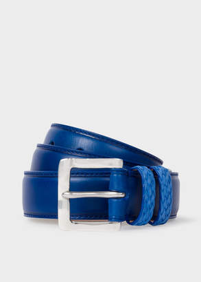 Paul Smith Men's Blue Leather Belt With Plaited Double Keeper